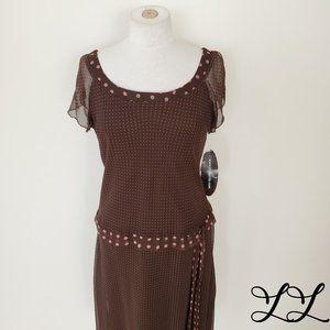 NWT Believe Dress Long Maxi Brown Pink Flapper